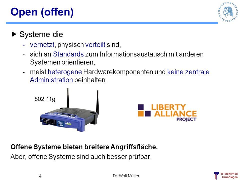 IT-Sicherheit Grundlagen Dr. Wolf Müller 4 Open (offen) Systeme die -vernetzt, physisch verteilt sind, -sich an Standards zum Informationsaustausch mi