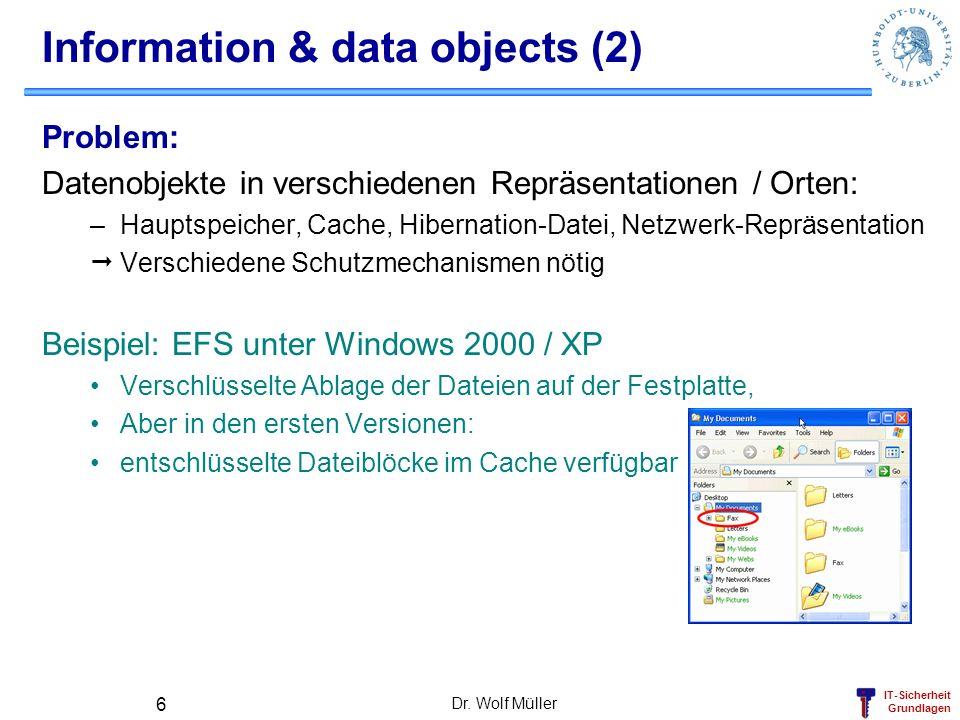 IT-Sicherheit Grundlagen Dr. Wolf Müller 6 Information & data objects (2) Problem: Datenobjekte in verschiedenen Repräsentationen / Orten: –Hauptspeic