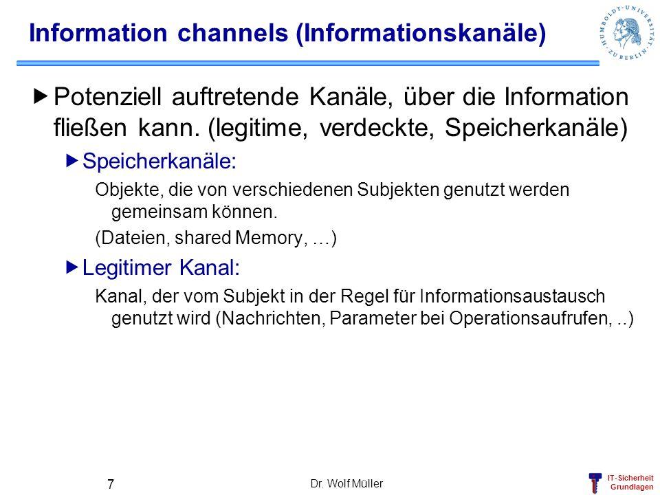 IT-Sicherheit Grundlagen Dr. Wolf Müller 7 Information channels (Informationskanäle) Potenziell auftretende Kanäle, über die Information fließen kann.