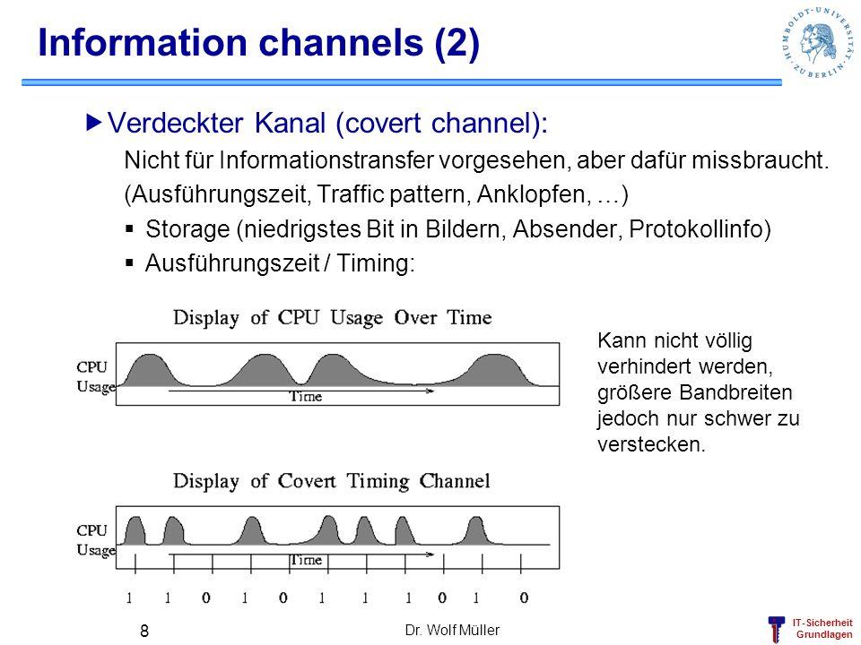 IT-Sicherheit Grundlagen Dr. Wolf Müller 8 Information channels (2) Verdeckter Kanal (covert channel): Nicht für Informationstransfer vorgesehen, aber