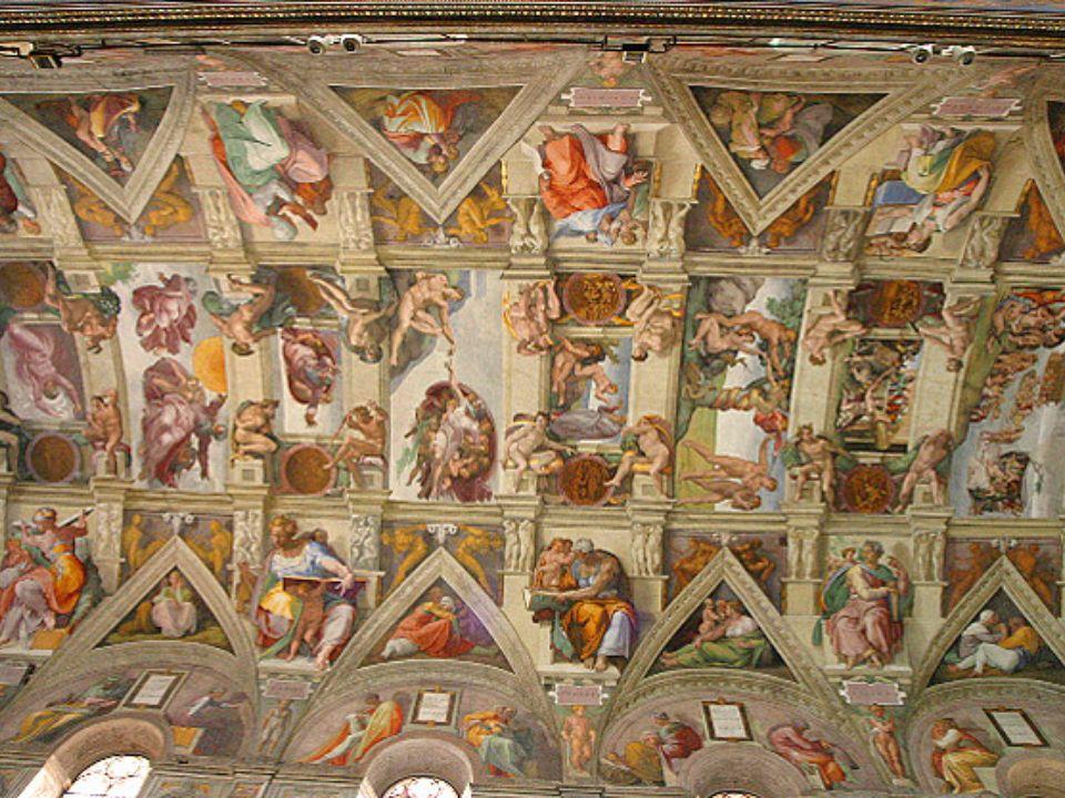 Die Erschaffung Adams -1508-12, in der Sixtinischen Kapelle; -Gottvater erweckt Adam mit ausgestrecktem Zeigefinger zum Leben; -Gottvater wird von Putten umgeben.