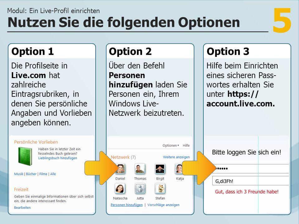 5 Option 1 Die Profilseite in Live.com hat zahlreiche Eintragsrubriken, in denen Sie persönliche Angaben und Vorlieben angeben können. Option 2Option