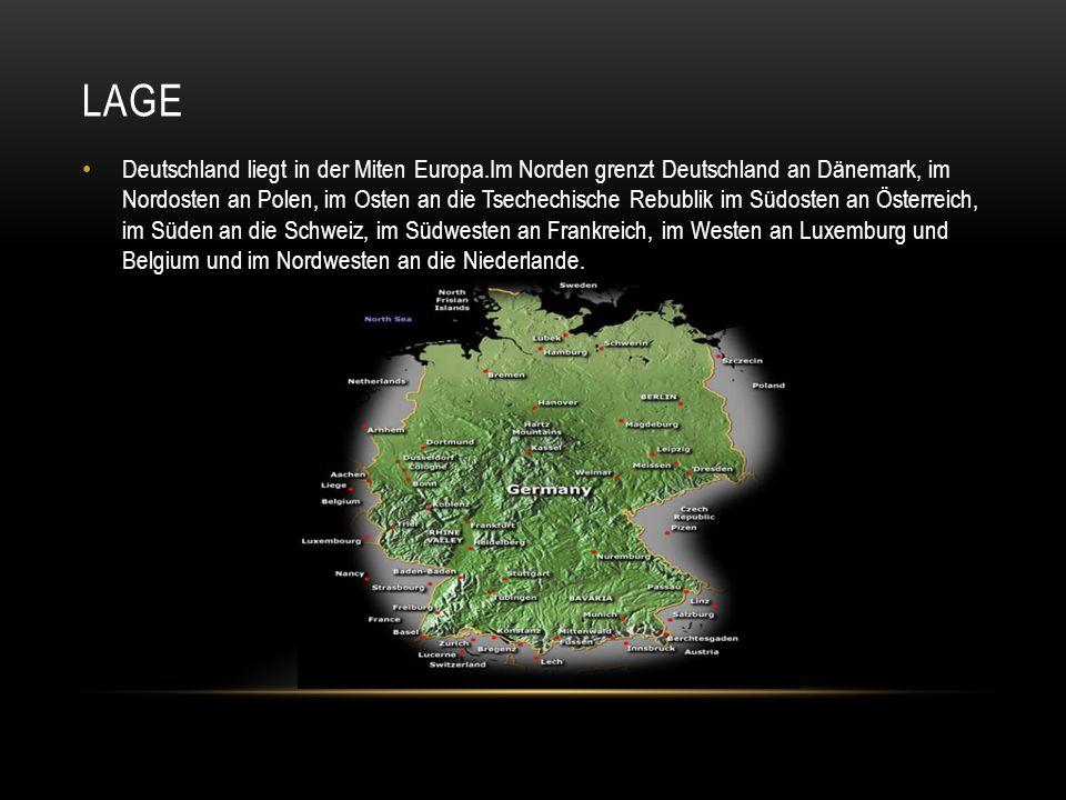 LAGE Deutschland liegt in der Miten Europa.Im Norden grenzt Deutschland an Dänemark, im Nordosten an Polen, im Osten an die Tsechechische Rebublik im