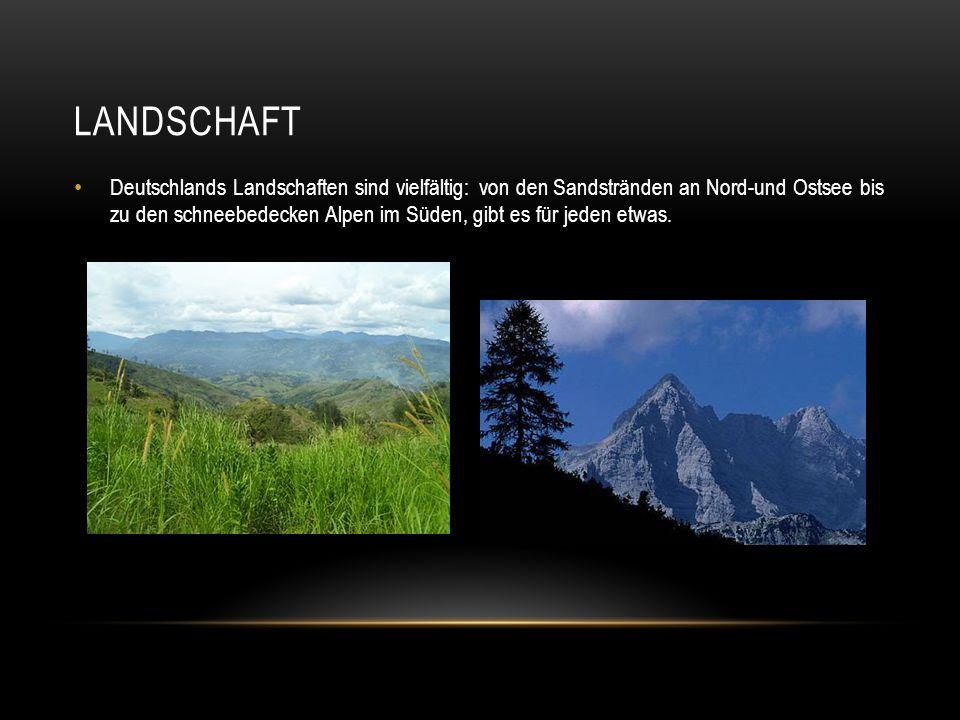 LANDSCHAFT Deutschlands Landschaften sind vielfältig: von den Sandstränden an Nord-und Ostsee bis zu den schneebedecken Alpen im Süden, gibt es für je