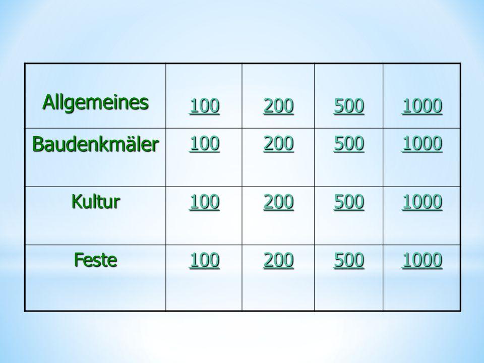 Allgemeines 100 200 500 1000 Baudenkmäler 100 200 500 1000 Kultur 100 200 500 1000 Feste 100 200 500 1000