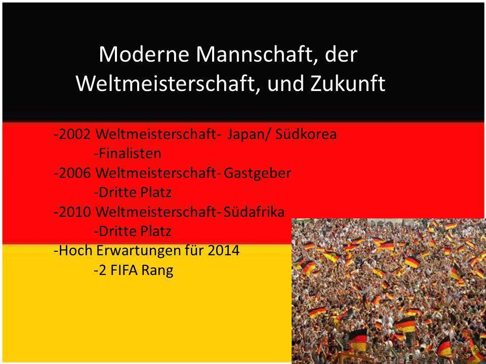 Moderne Mannschaft, der Weltmeisterschaft, und Zukunft -2002 Weltmeisterschaft- Japan/ Südkorea -Finalisten -2006 Weltmeisterschaft- Gastgeber -Dritte Platz -2010 Weltmeisterschaft- Südafrika -Dritte Platz -Hoch Erwartungen für 2014 -2 FIFA Rang