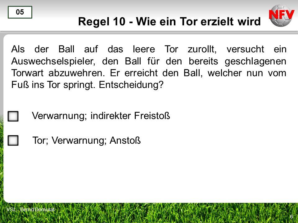 6 Regel 10 - Wie ein Tor erzielt wird Als der Ball auf das leere Tor zurollt, versucht ein Auswechselspieler, den Ball für den bereits geschlagenen To