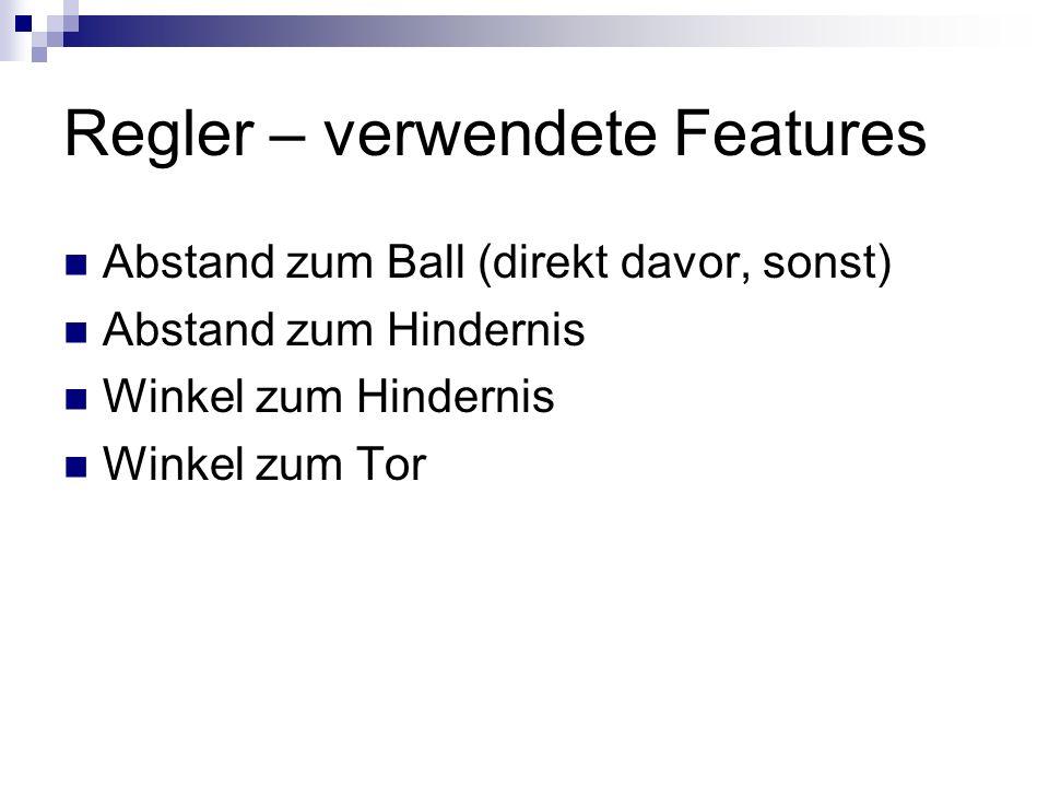 Regler – verwendete Features Abstand zum Ball (direkt davor, sonst) Abstand zum Hindernis Winkel zum Hindernis Winkel zum Tor