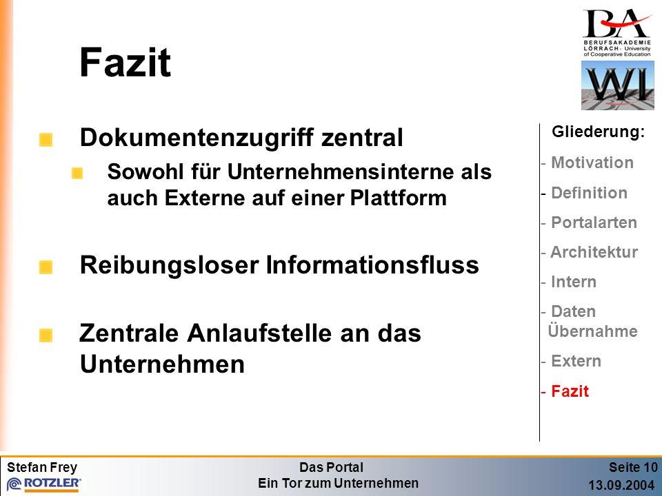Stefan FreyDas Portal Ein Tor zum Unternehmen 13.09.2004 Fazit Dokumentenzugriff zentral Sowohl für Unternehmensinterne als auch Externe auf einer Pla