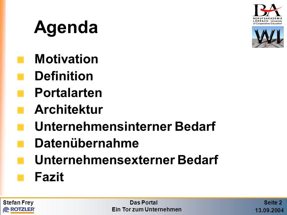 Stefan FreyDas Portal Ein Tor zum Unternehmen 13.09.2004 Agenda Motivation Definition Portalarten Architektur Unternehmensinterner Bedarf Datenübernah