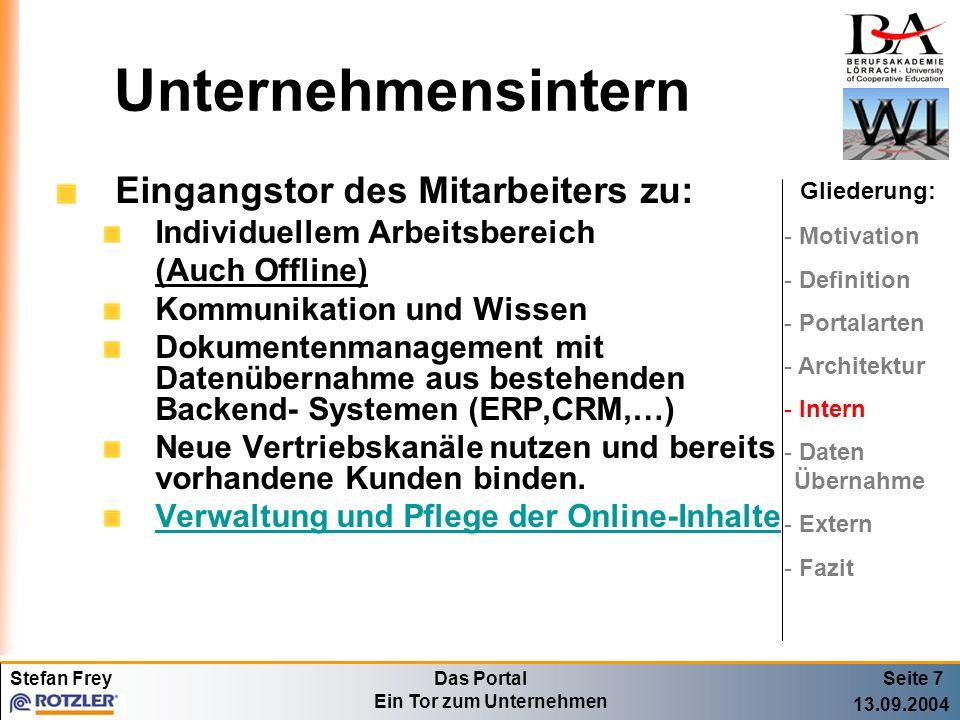 Stefan FreyDas Portal Ein Tor zum Unternehmen 13.09.2004 Unternehmensintern Eingangstor des Mitarbeiters zu: Individuellem Arbeitsbereich (Auch Offlin