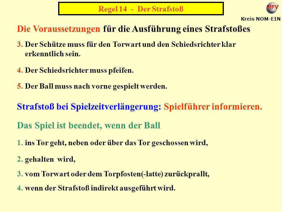 Kreis NOM-EIN Die Voraussetzungen für die Ausführung eines Strafstoßes 3.