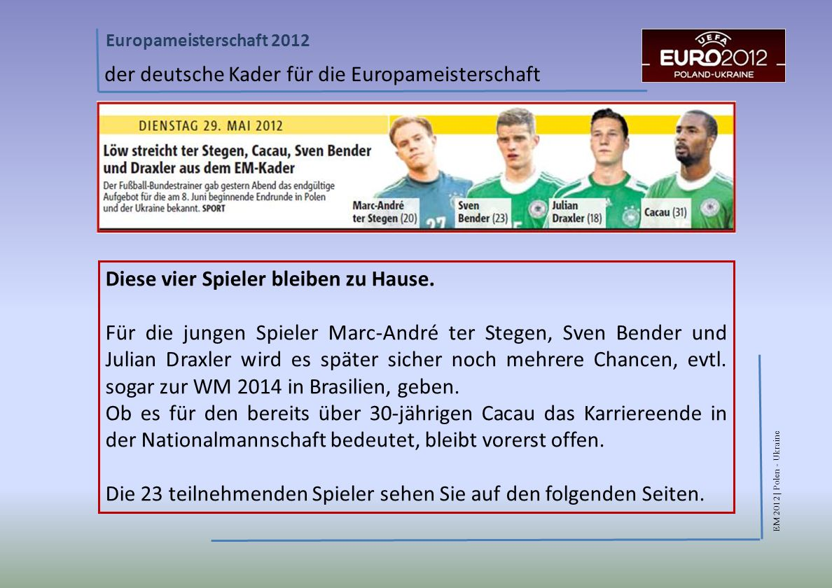 EM 2012 | Polen - Ukraine Europameisterschaft 2012 der deutsche Kader für die Europameisterschaft Diese vier Spieler bleiben zu Hause.