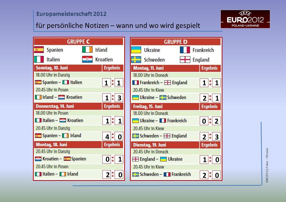 EM 2012 | Polen - Ukraine Europameisterschaft 2012 für persönliche Notizen – wann und wo wird gespielt 1 1 3 2 1 1 4 0 0 2 2 3 0 1 2 0 1 0