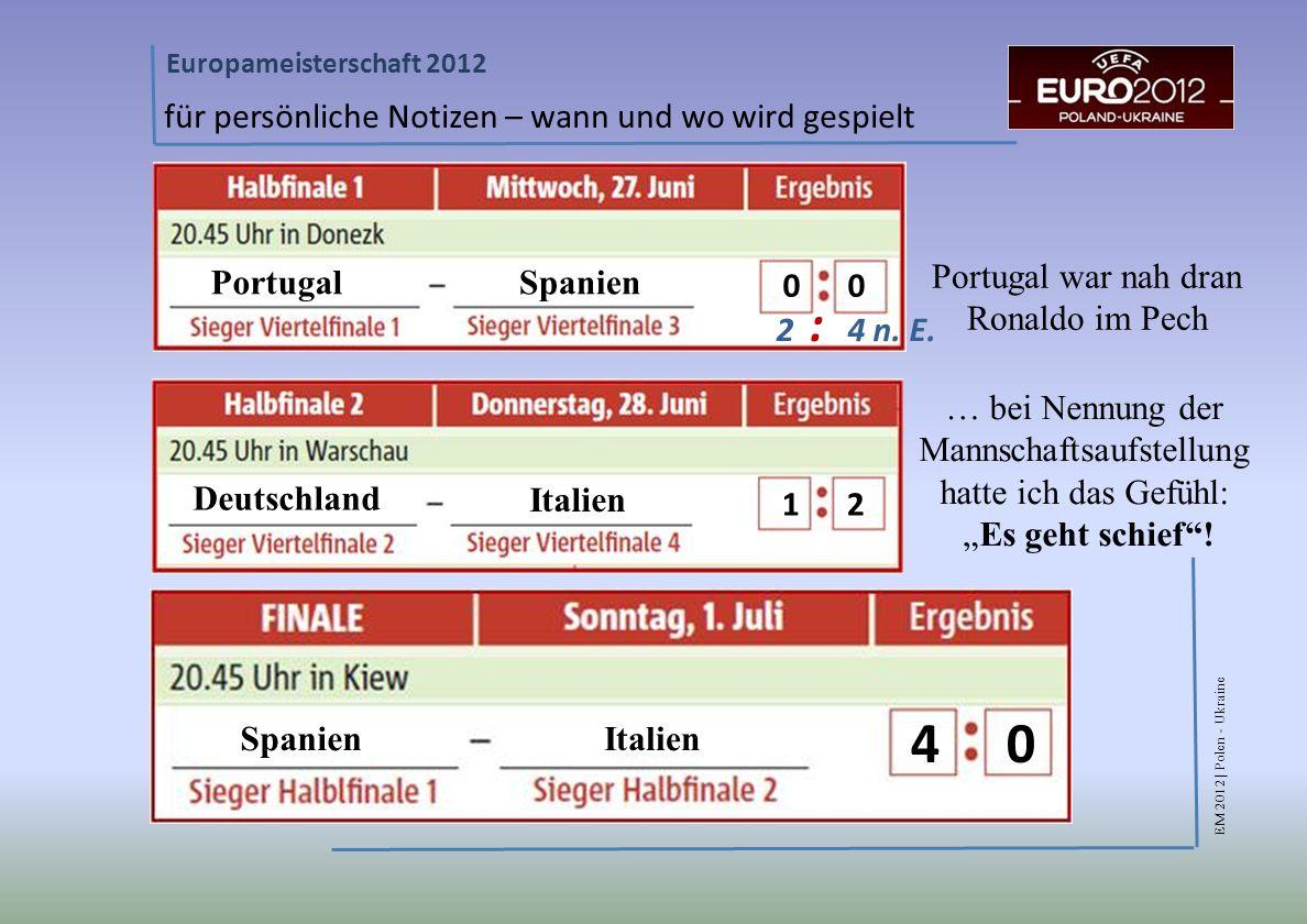 EM 2012 | Polen - Ukraine Europameisterschaft 2012 für persönliche Notizen – wann und wo wird gespielt Portugal Deutschland Spanien Italien 2 : 4 n.