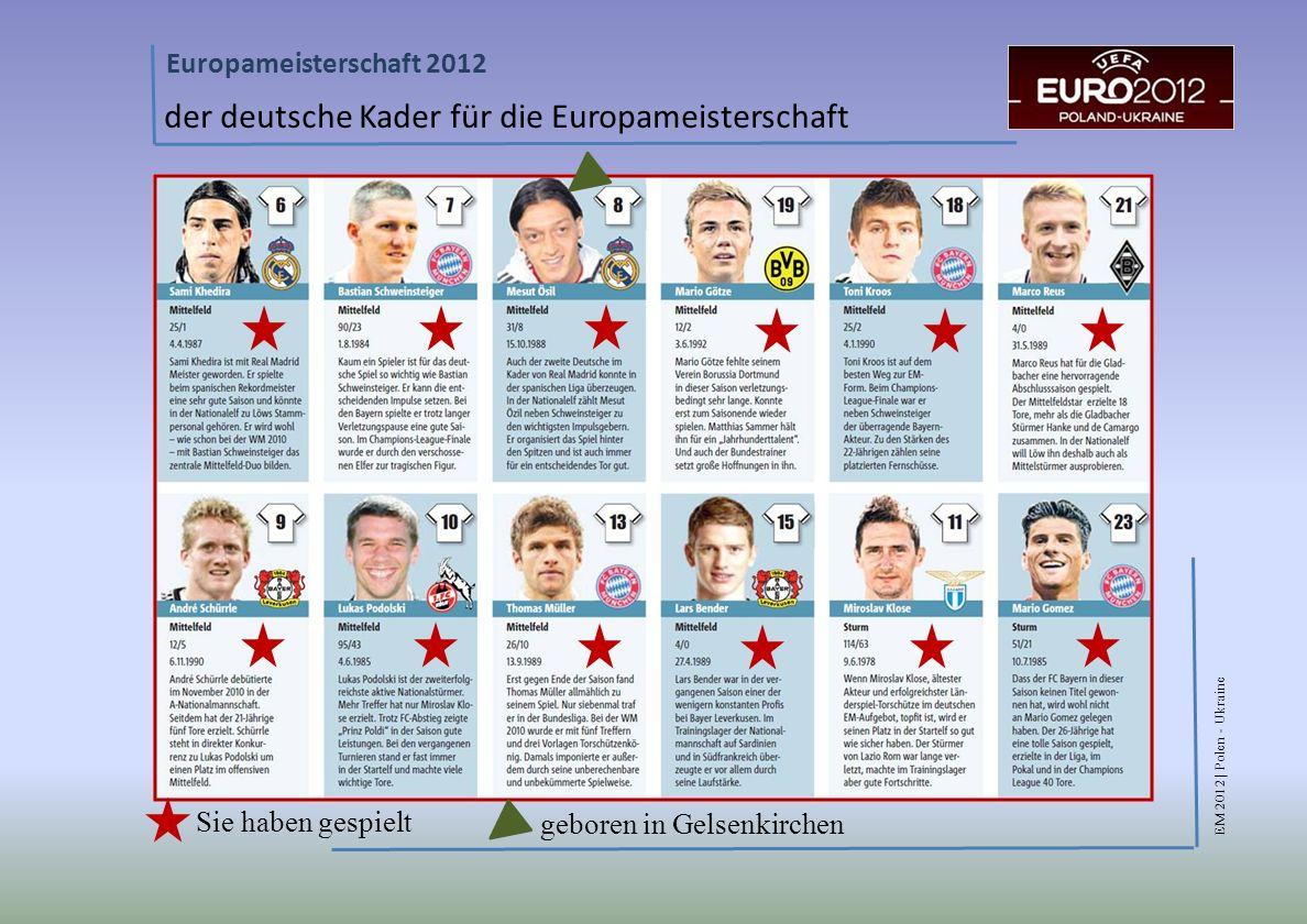EM 2012 | Polen - Ukraine Europameisterschaft 2012 der deutsche Kader für die Europameisterschaft Sie haben gespielt geboren in Gelsenkirchen