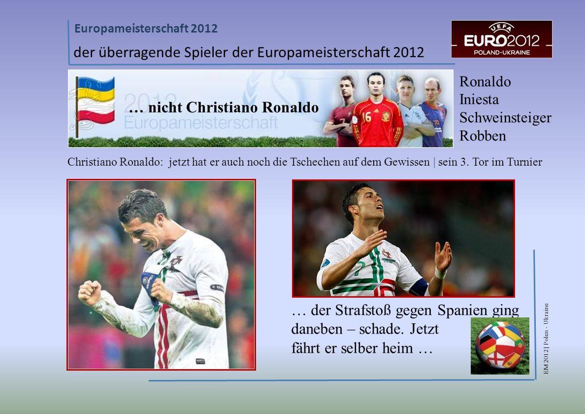 EM 2012 | Polen - Ukraine Europameisterschaft 2012 der überragende Spieler der Europameisterschaft 2012 Ronaldo Iniesta Schweinsteiger Robben Christiano Ronaldo: jetzt hat er auch noch die Tschechen auf dem Gewissen | sein 3.