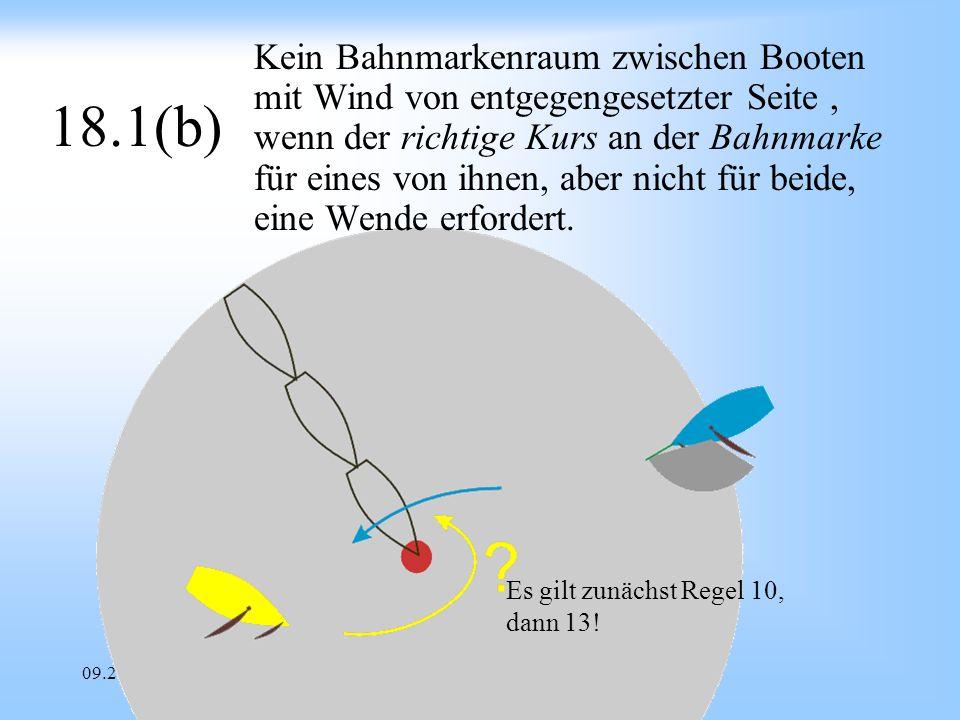 09.2008Uli Finckh Breitbrunn 18.1(b) Kein Bahnmarkenraum zwischen Booten mit Wind von entgegengesetzter Seite, wenn der richtige Kurs an der Bahnmarke für eines von ihnen, aber nicht für beide, eine Wende erfordert.