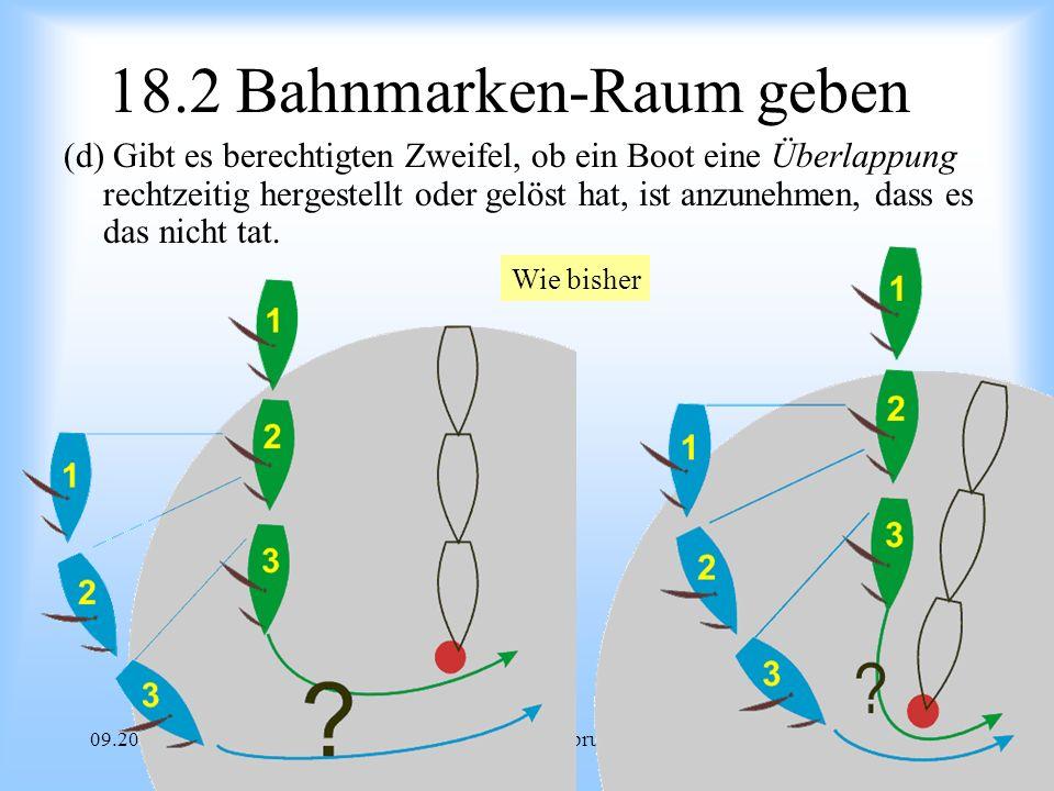 09.2008Uli Finckh Breitbrunn 18.2 Bahnmarken-Raum geben (d) Gibt es berechtigten Zweifel, ob ein Boot eine Überlappung rechtzeitig hergestellt oder gelöst hat, ist anzunehmen, dass es das nicht tat.