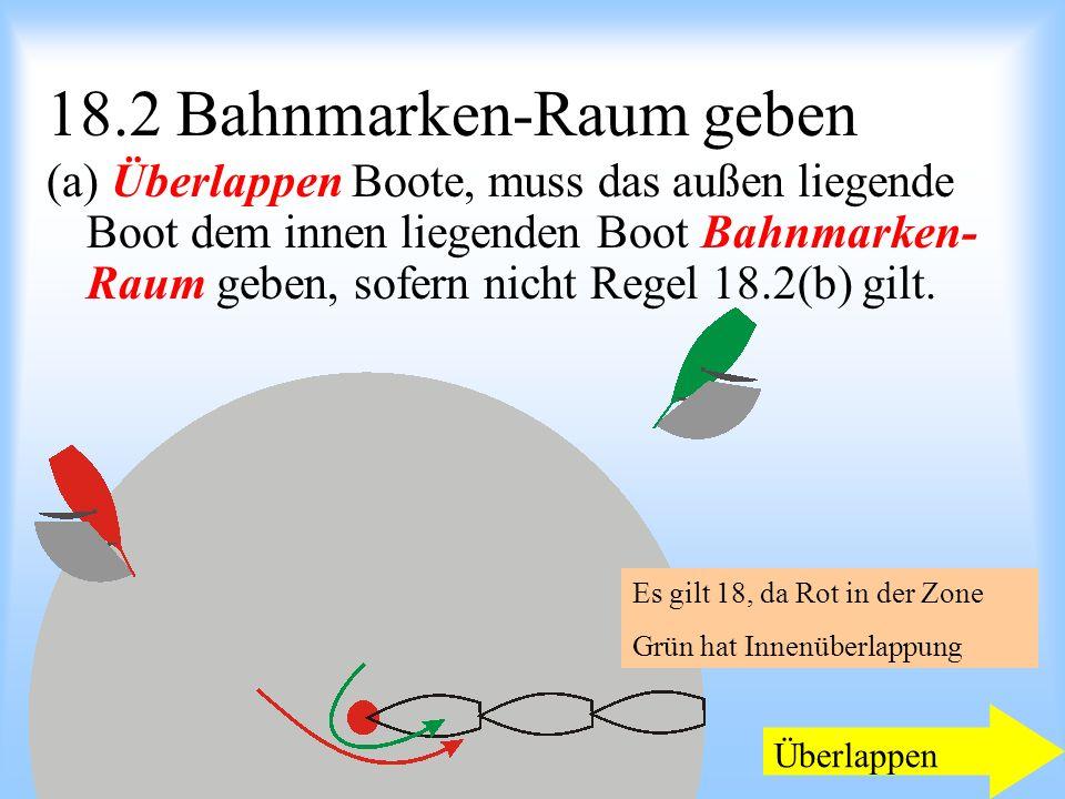 09.2008Uli Finckh Breitbrunn 18.2 Bahnmarken-Raum geben (a) Überlappen Boote, muss das außen liegende Boot dem innen liegenden Boot Bahnmarken- Raum geben, sofern nicht Regel 18.2(b) gilt.