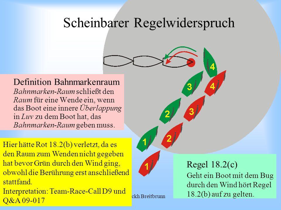 09.2008Uli Finckh Breitbrunn Scheinbarer Regelwiderspruch Definition Bahnmarkenraum Bahnmarken-Raum schließt den Raum für eine Wende ein, wenn das Boot eine innere Überlappung in Luv zu dem Boot hat, das Bahnmarken-Raum geben muss.