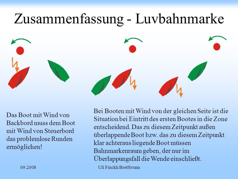 09.2008Uli Finckh Breitbrunn Zusammenfassung - Luvbahnmarke Das Boot mit Wind von Backbord muss dem Boot mit Wind von Steuerbord das problemlose Runden ermöglichen.