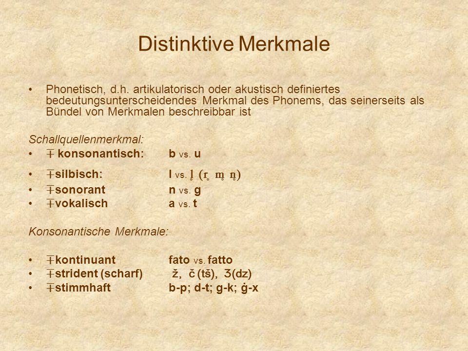 Distinktive Merkmale Phonetisch, d.h. artikulatorisch oder akustisch definiertes bedeutungsunterscheidendes Merkmal des Phonems, das seinerseits als B