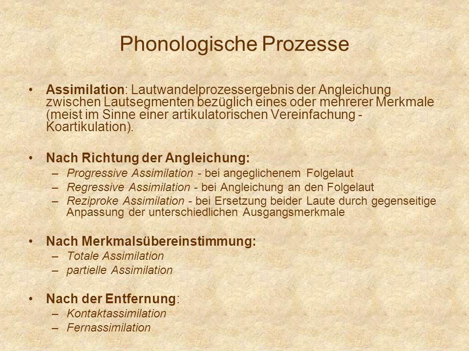 Phonologische Prozesse Assimilation: Lautwandelprozessergebnis der Angleichung zwischen Lautsegmenten bezüglich eines oder mehrerer Merkmale (meist im