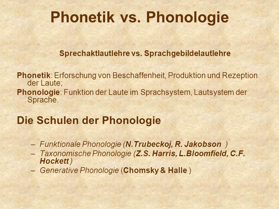 Phonetik vs. Phonologie Sprechaktlautlehre vs. Sprachgebildelautlehre Phonetik: Erforschung von Beschaffenheit, Produktion und Rezeption der Laute; Ph