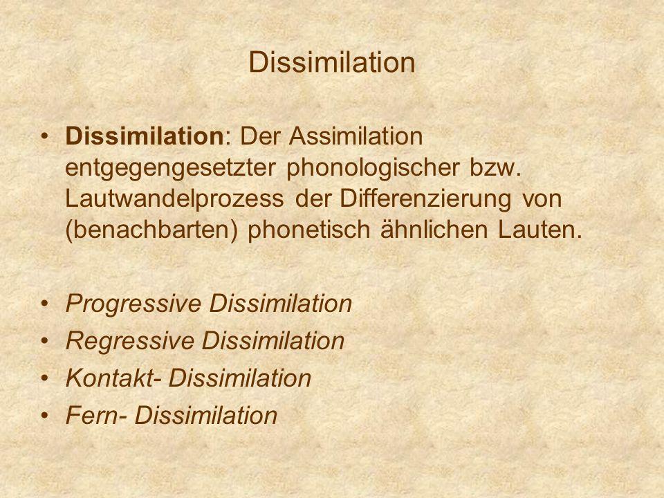 Dissimilation Dissimilation: Der Assimilation entgegengesetzter phonologischer bzw. Lautwandelprozess der Differenzierung von (benachbarten) phonetisc