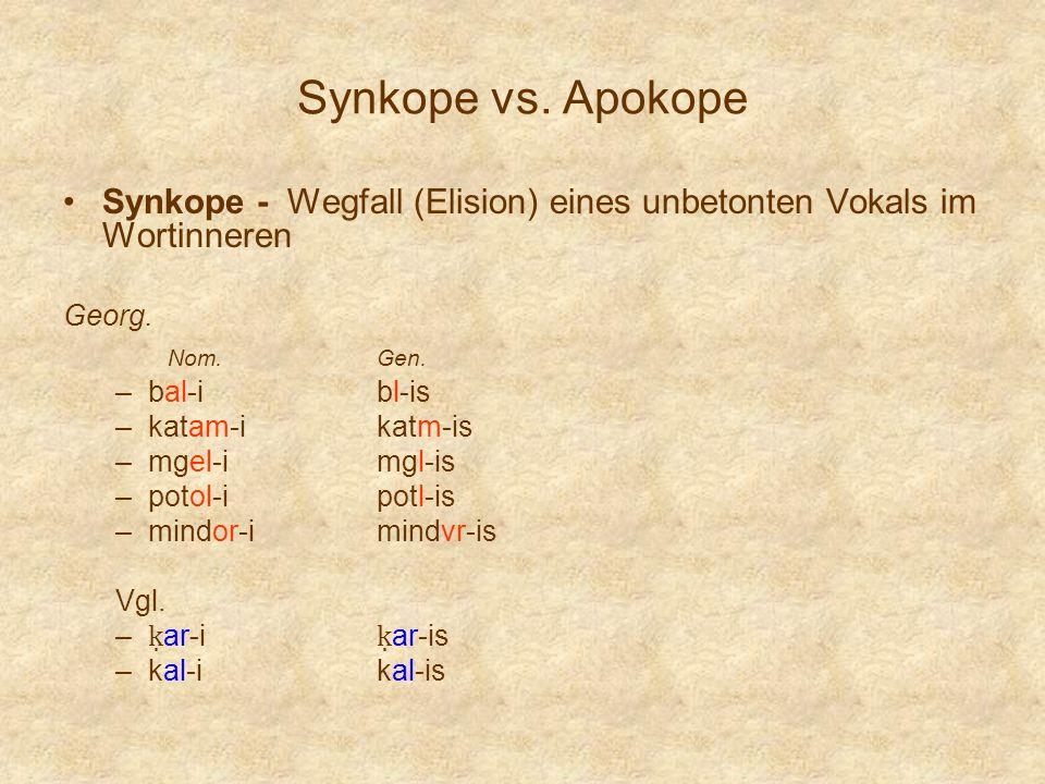 Synkope vs. Apokope Synkope - Wegfall (Elision) eines unbetonten Vokals im Wortinneren Georg. Nom.Gen. –bal-ibl-is –katam-ikatm-is –mgel-imgl-is –poto