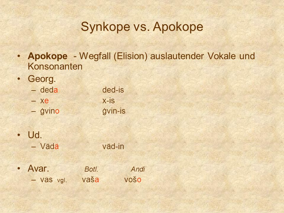 Synkope vs. Apokope Apokope - Wegfall (Elision) auslautender Vokale und Konsonanten Georg. –dedaded-is –xex-is –ġvinoġvin-is Ud. –Vädäväd-in Avar. Bot