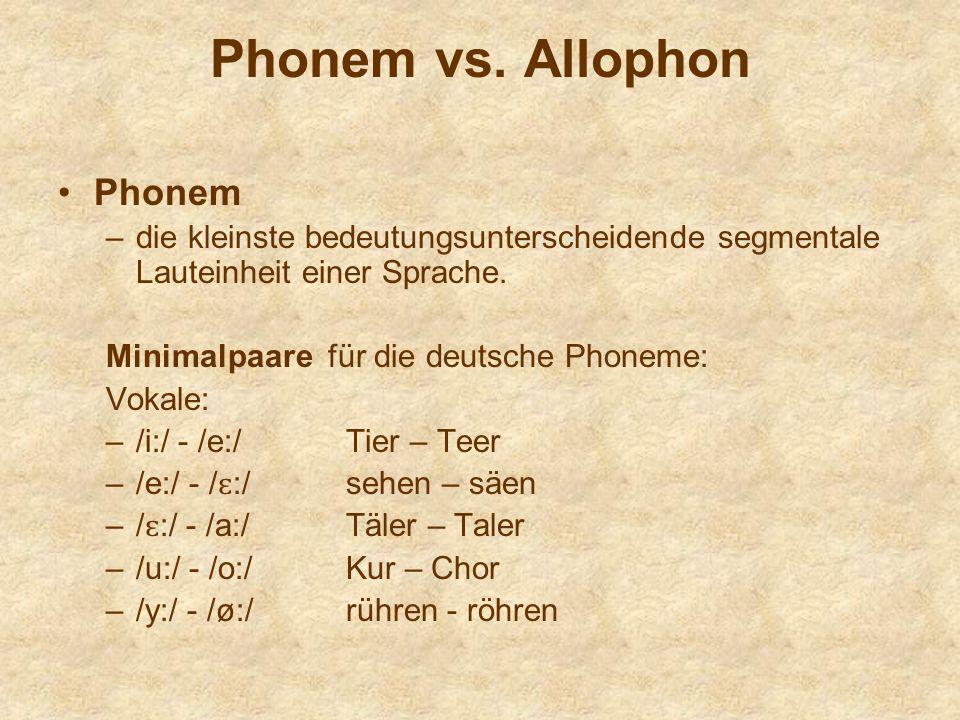 Phonem vs. Allophon Phonem –die kleinste bedeutungsunterscheidende segmentale Lauteinheit einer Sprache. Minimalpaare für die deutsche Phoneme: Vokale