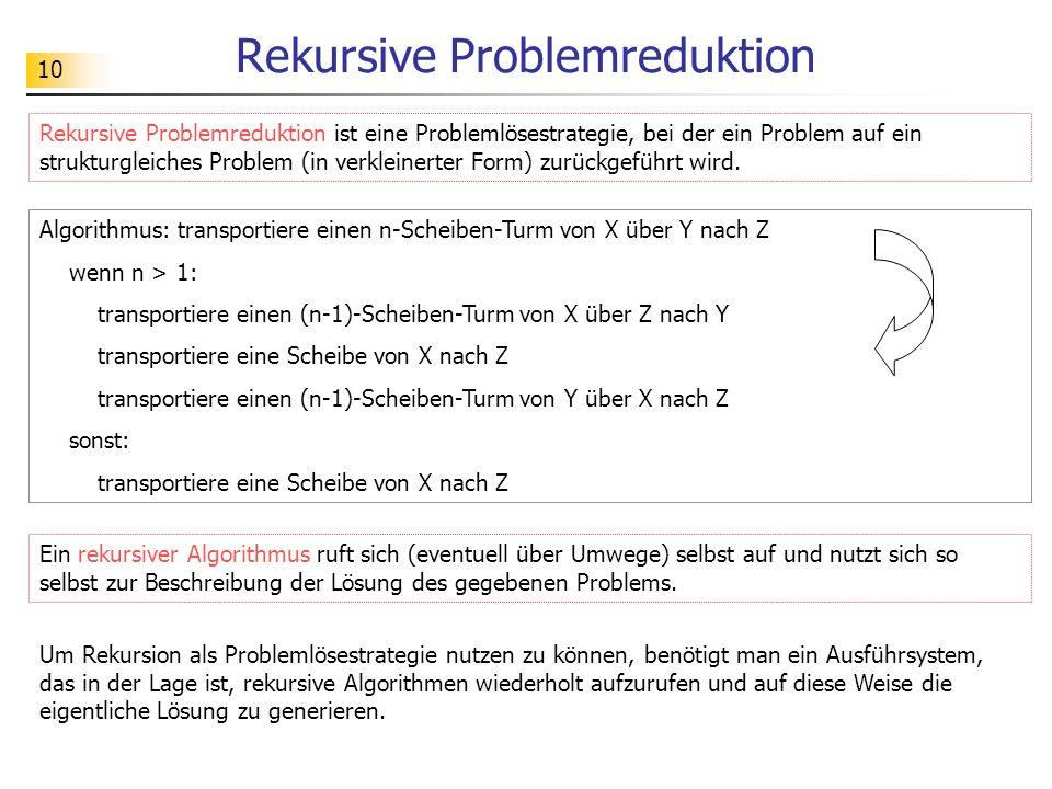 10 Rekursive Problemreduktion Rekursive Problemreduktion ist eine Problemlösestrategie, bei der ein Problem auf ein strukturgleiches Problem (in verkleinerter Form) zurückgeführt wird.