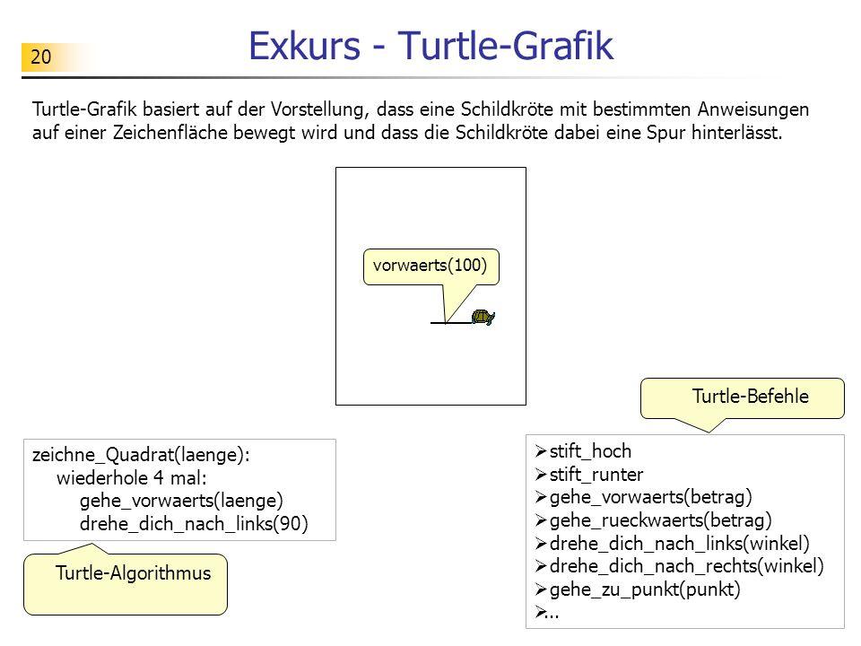 20 Exkurs - Turtle-Grafik Turtle-Grafik basiert auf der Vorstellung, dass eine Schildkröte mit bestimmten Anweisungen auf einer Zeichenfläche bewegt wird und dass die Schildkröte dabei eine Spur hinterlässt.