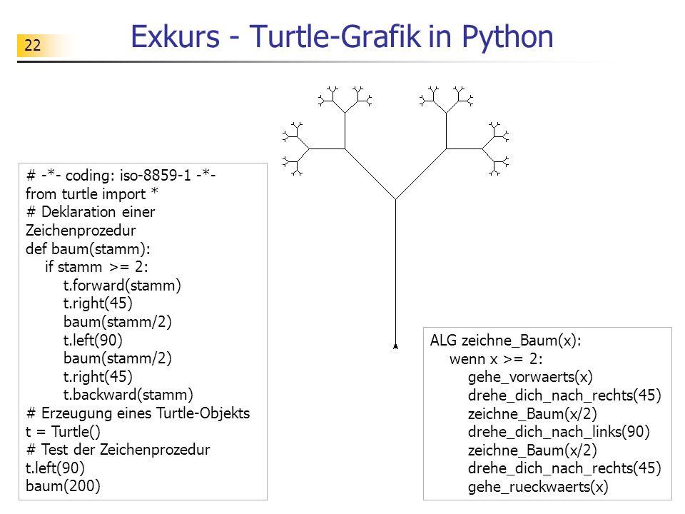 22 Exkurs - Turtle-Grafik in Python # -*- coding: iso-8859-1 -*- from turtle import * # Deklaration einer Zeichenprozedur def baum(stamm): if stamm >= 2: t.forward(stamm) t.right(45) baum(stamm/2) t.left(90) baum(stamm/2) t.right(45) t.backward(stamm) # Erzeugung eines Turtle-Objekts t = Turtle() # Test der Zeichenprozedur t.left(90) baum(200) ALG zeichne_Baum(x): wenn x >= 2: gehe_vorwaerts(x) drehe_dich_nach_rechts(45) zeichne_Baum(x/2) drehe_dich_nach_links(90) zeichne_Baum(x/2) drehe_dich_nach_rechts(45) gehe_rueckwaerts(x)