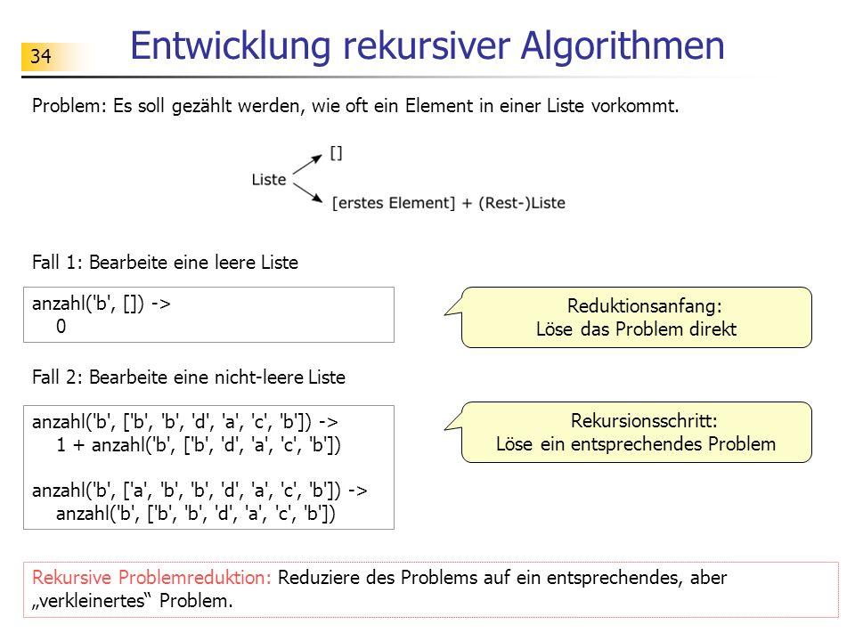 34 Entwicklung rekursiver Algorithmen Problem: Es soll gezählt werden, wie oft ein Element in einer Liste vorkommt.