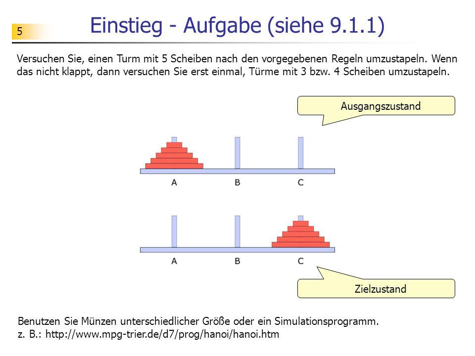 5 Einstieg - Aufgabe (siehe 9.1.1) Ausgangszustand Versuchen Sie, einen Turm mit 5 Scheiben nach den vorgegebenen Regeln umzustapeln.