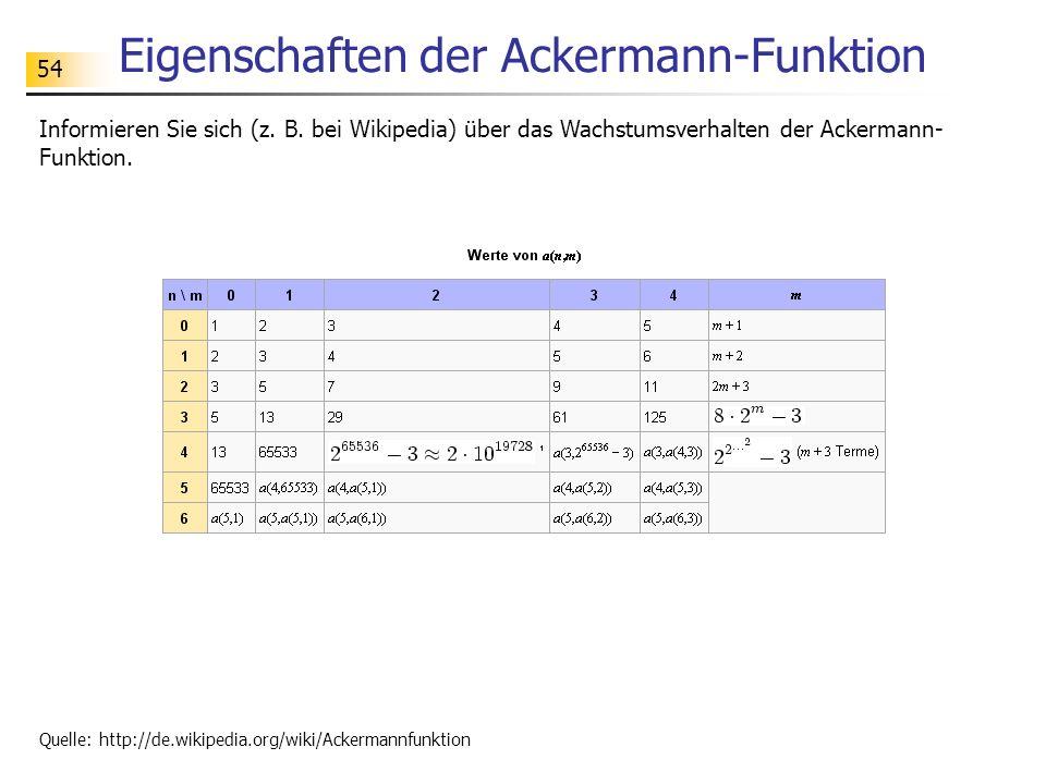 54 Eigenschaften der Ackermann-Funktion Informieren Sie sich (z.