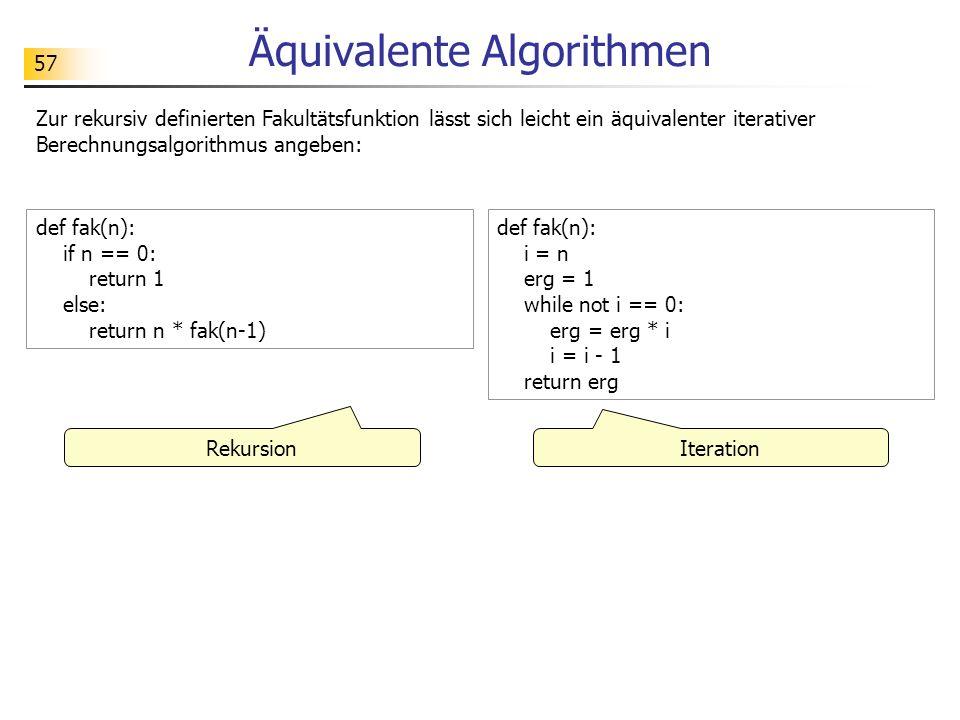57 Äquivalente Algorithmen Zur rekursiv definierten Fakultätsfunktion lässt sich leicht ein äquivalenter iterativer Berechnungsalgorithmus angeben: def fak(n): if n == 0: return 1 else: return n * fak(n-1) def fak(n): i = n erg = 1 while not i == 0: erg = erg * i i = i - 1 return erg Rekursion Iteration