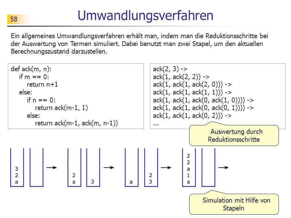 58 Umwandlungsverfahren Ein allgemeines Umwandlungsverfahren erhält man, indem man die Reduktionsschritte bei der Auswertung von Termen simuliert.
