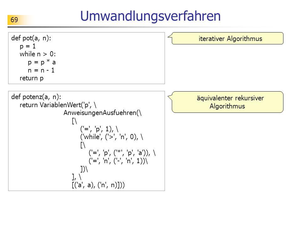 69 Umwandlungsverfahren def potenz(a, n): return VariablenWert( p , \ AnweisungenAusfuehren(\ [\ ( = , p , 1), \ ( while , ( > , n , 0), \ [\ ( = , p , ( * , p , a )), \ ( = , n , ( - , n , 1))\ ])\ ], \ [( a , a), ( n , n)])) def pot(a, n): p = 1 while n > 0: p = p * a n = n - 1 return p iterativer Algorithmus äquivalenter rekursiver Algorithmus