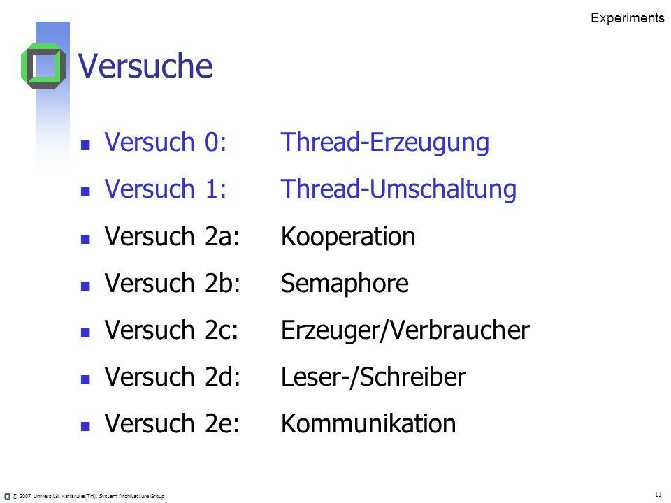 © 2007 Universität Karlsruhe(TH), System Architecture Group 11 Experiments Versuche Versuch 0: Thread-Erzeugung Versuch 1: Thread-Umschaltung Versuch