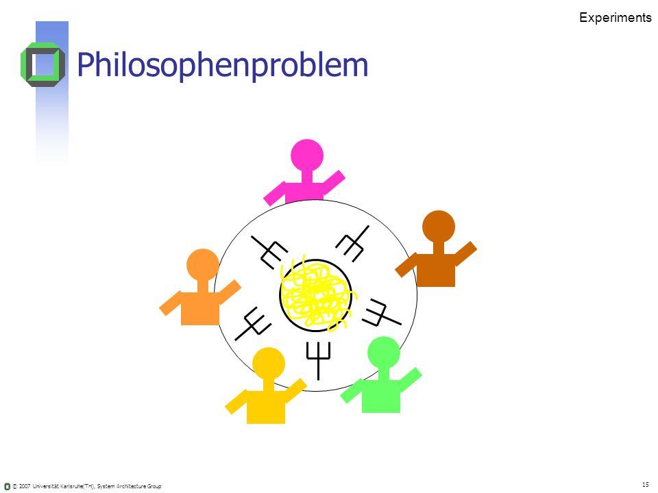 © 2007 Universität Karlsruhe(TH), System Architecture Group 15 Experiments Philosophenproblem