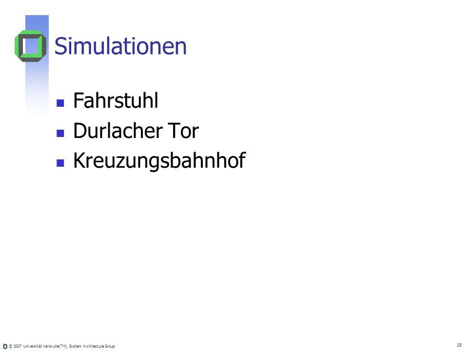 © 2007 Universität Karlsruhe(TH), System Architecture Group 18 Simulationen Fahrstuhl Durlacher Tor Kreuzungsbahnhof