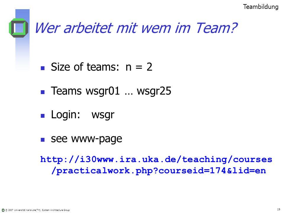 © 2007 Universität Karlsruhe(TH), System Architecture Group 19 Wer arbeitet mit wem im Team? Teambildung Size of teams: n = 2 Teams wsgr01 … wsgr25 Lo