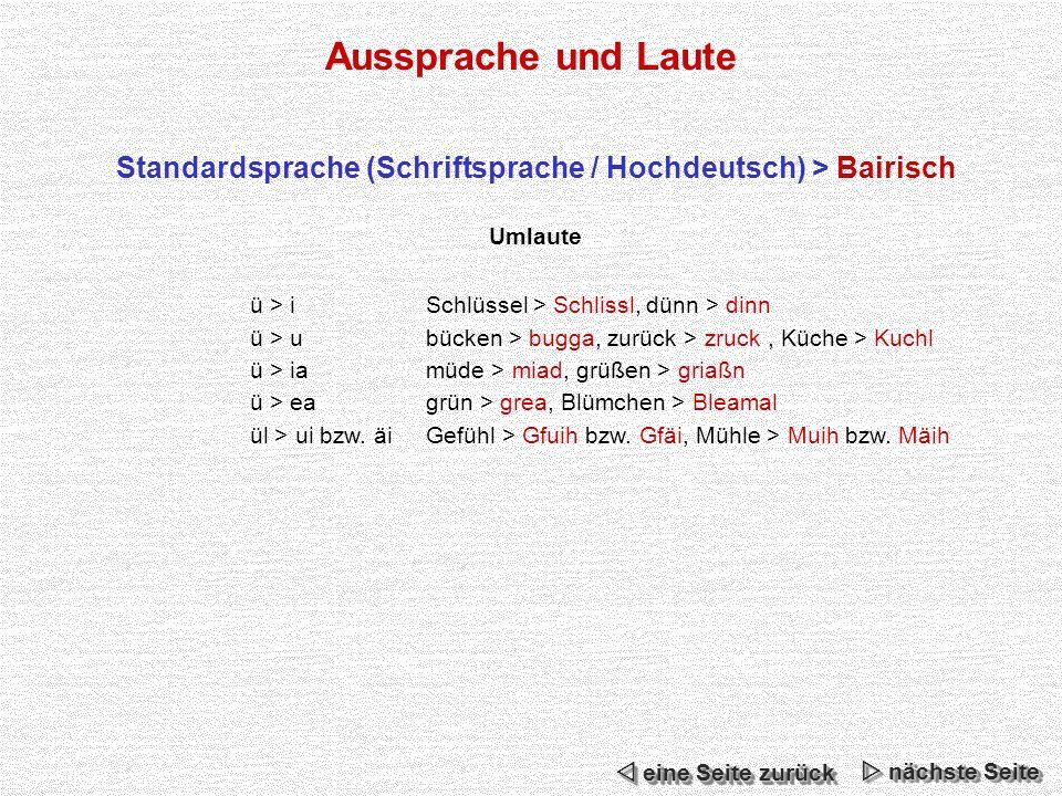 Aussprache und Laute Standardsprache (Schriftsprache / Hochdeutsch) > Bairisch Umlaute ü > iSchlüssel > Schlissl, dünn > dinn ü > ubücken > bugga, zurück > zruck, Küche > Kuchl ü > iamüde > miad, grüßen > griaßn ü > eagrün > grea, Blümchen > Bleamal ül > ui bzw.