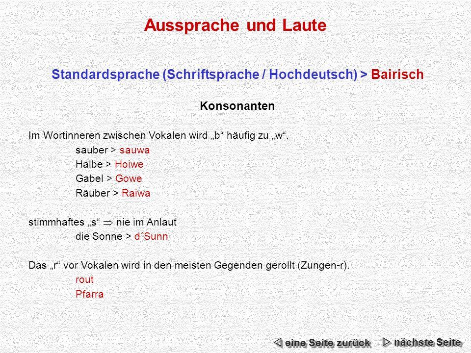 Aussprache und Laute Standardsprache (Schriftsprache / Hochdeutsch) > Bairisch Konsonanten Im Wortinneren zwischen Vokalen wird b häufig zu w.