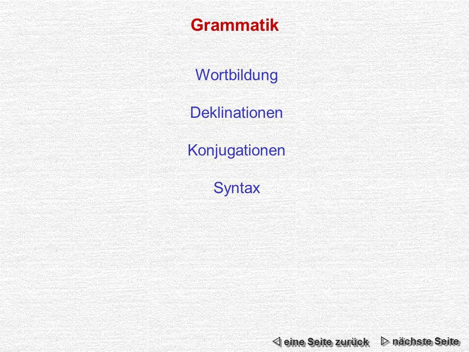 Grammatik Wortbildung Deklinationen Konjugationen Syntax nächste Seite nächste Seite nächste Seite nächste Seite eine Seite zurück eine Seite zurück eine Seite zurück eine Seite zurück