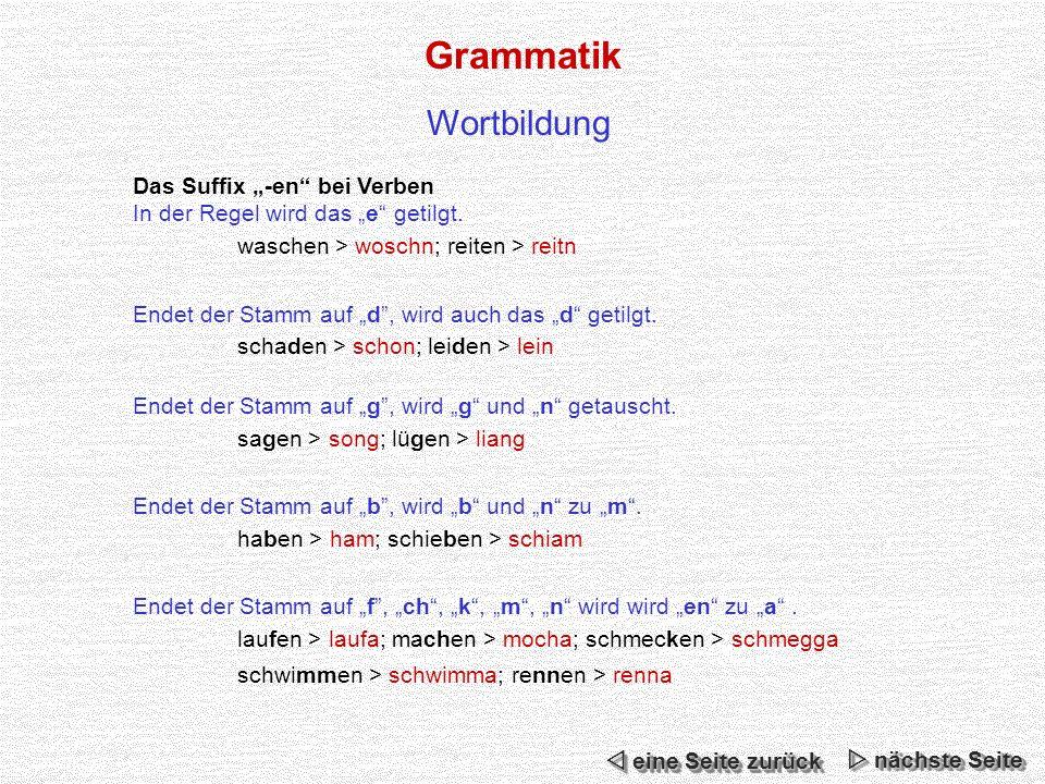 Grammatik Das Suffix -en bei Verben In der Regel wird das e getilgt.